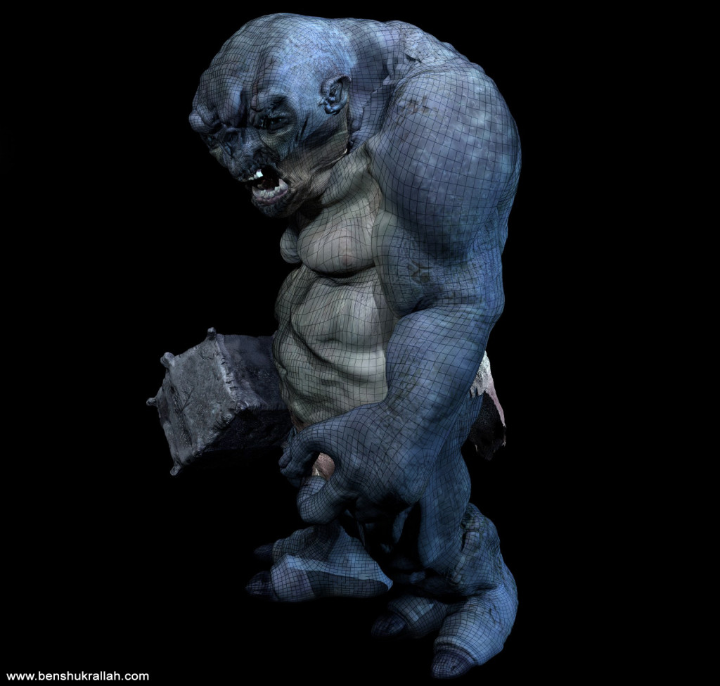Cave Troll 3d model wireframe